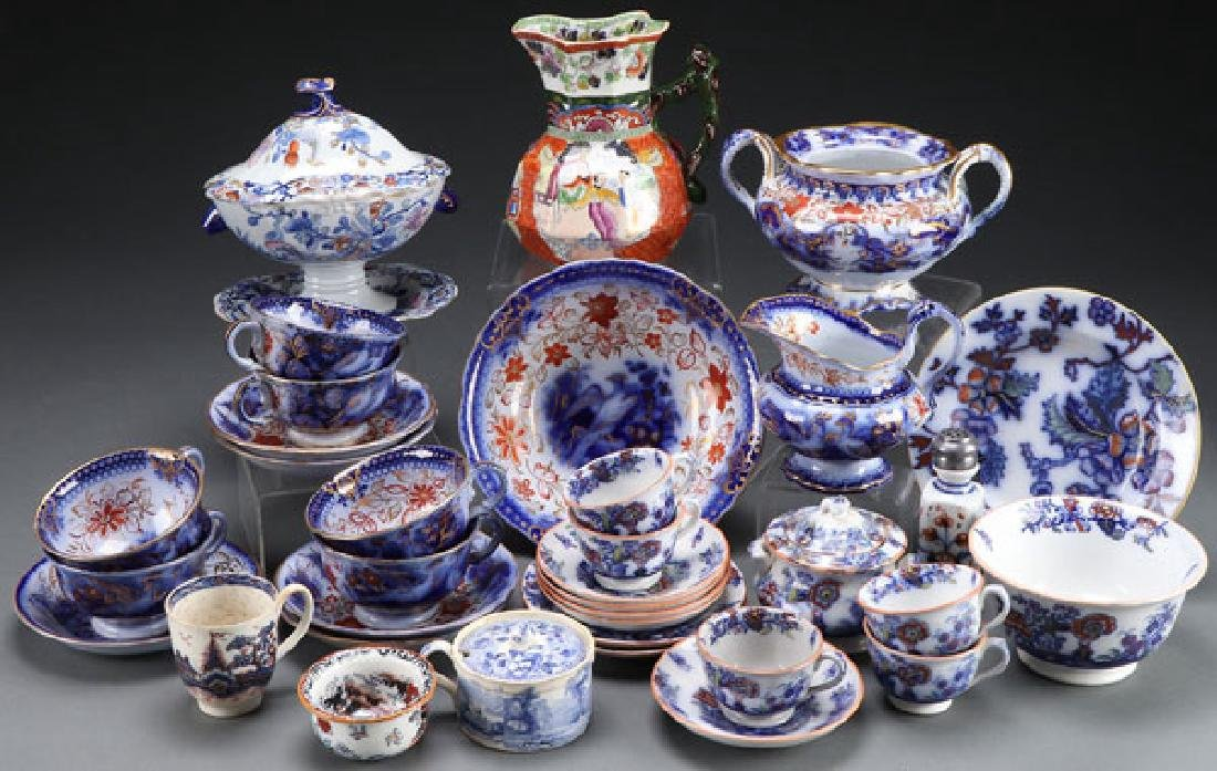 STAFFORDSHIRE FLOW BLUE AND TRANSFERWARE