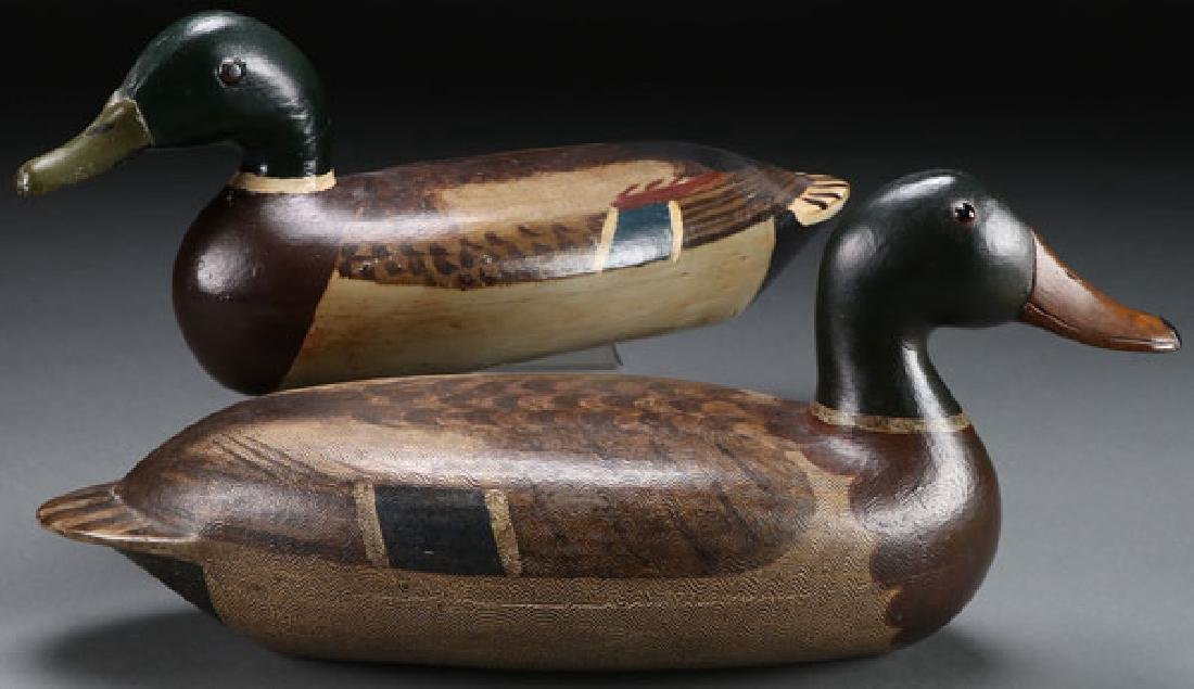 A PAIR OF PAINTED WOOD DUCK DECOYS