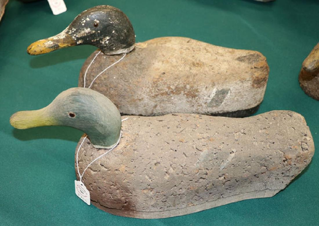 FIVE WOOD AND CORK PAINTED DUCK DECOYS - 2