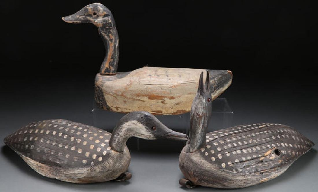 THREE CARVED AND PAINTED DECOYS
