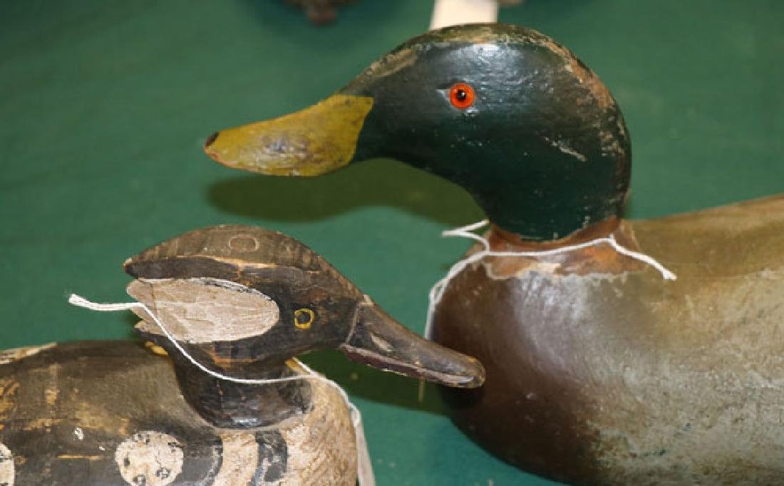 FOUR CARVED AND PAINTED DUCK DECOYS - 8