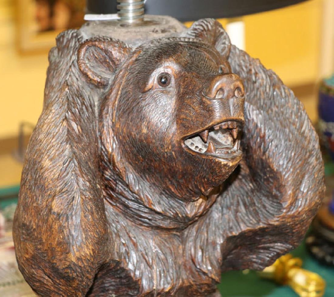 BLACK FOREST CARVED BEAR PIANO STOOL - 2