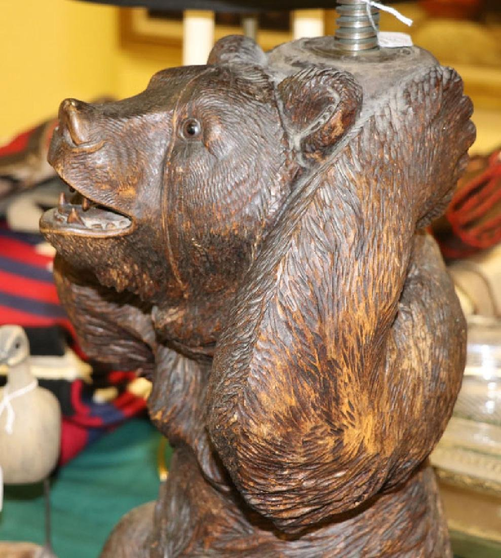 BLACK FOREST CARVED BEAR PIANO STOOL - 3