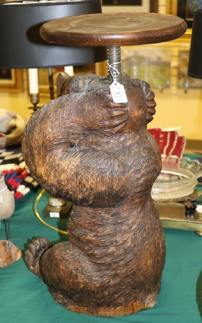 BLACK FOREST CARVED BEAR PIANO STOOL - 4