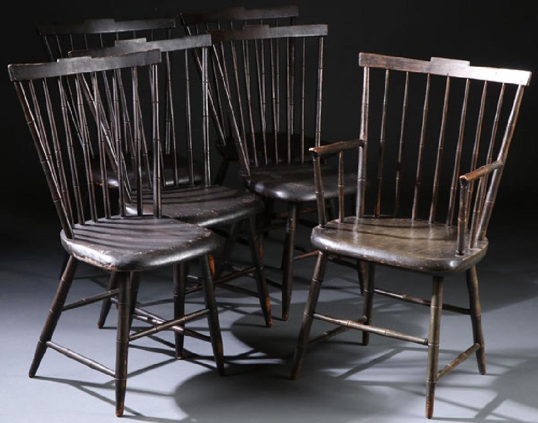 6 EARLY AMERICAN WINDSOR SIDE CHAIRS