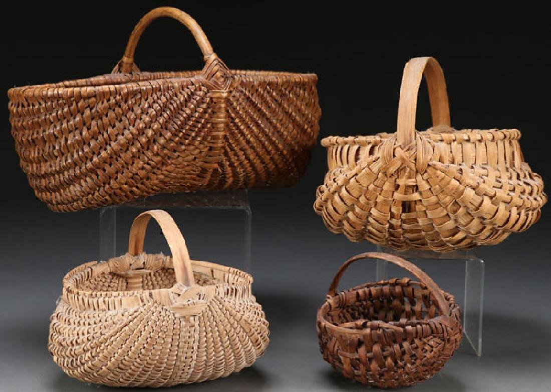 A COLLECTION OF FOUR WOVEN BASKETS, 20TH CENTURY