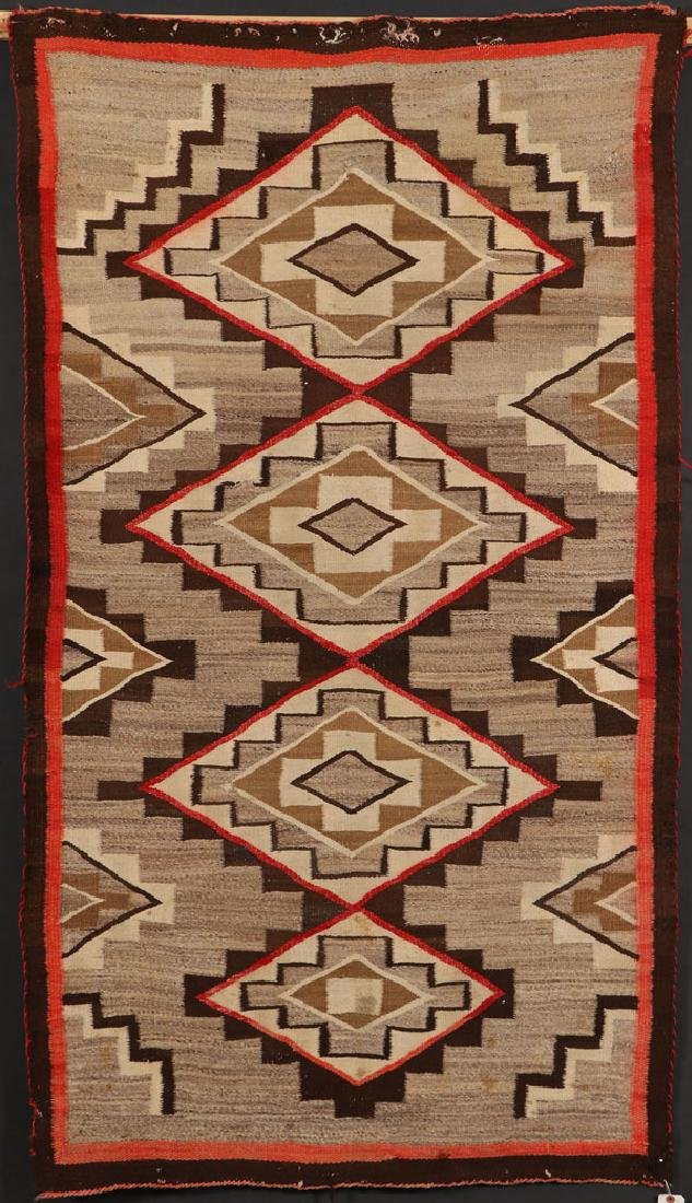 """A SOUTHWEST NAVAJO """"RED MESSA"""" HANDWOVEN WOOL RUG"""