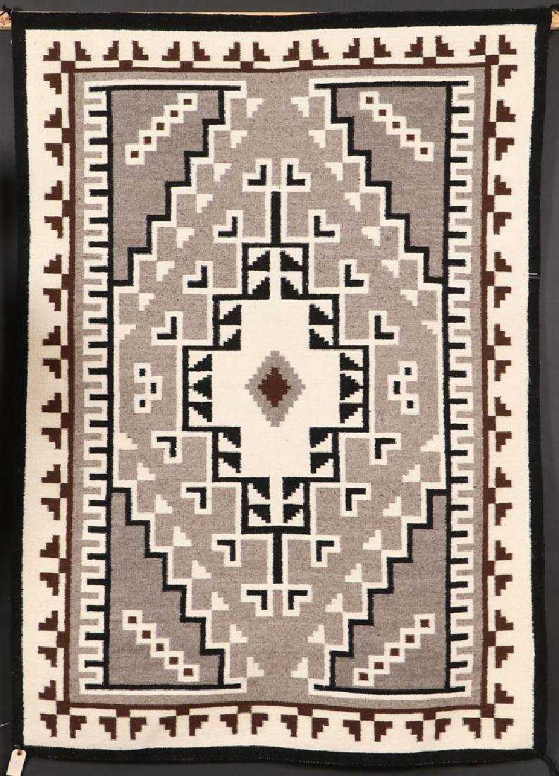 """A SOUTHWEST NAVAJO """"TWO GRAY HILLS"""" HANDWOVEN RUG"""