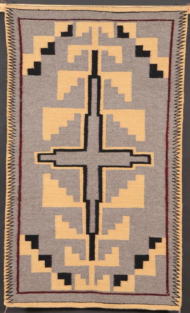 "A GOOD SOUTHWEST NAVAJO ""TWO GRAY HILLS"" RUG"