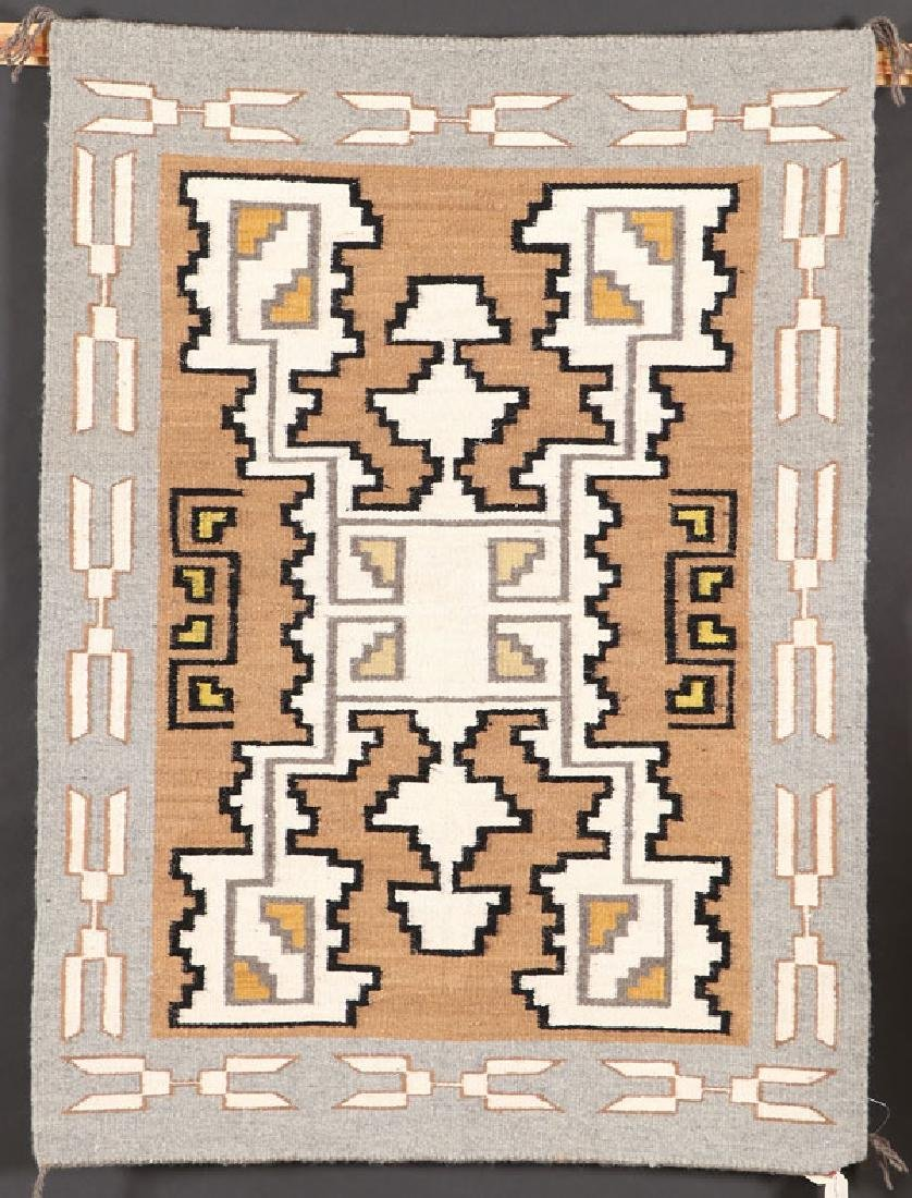 A GROUP OF FIVE SOUTHWEST NAVAJO HANDWOVEN RUG - 2