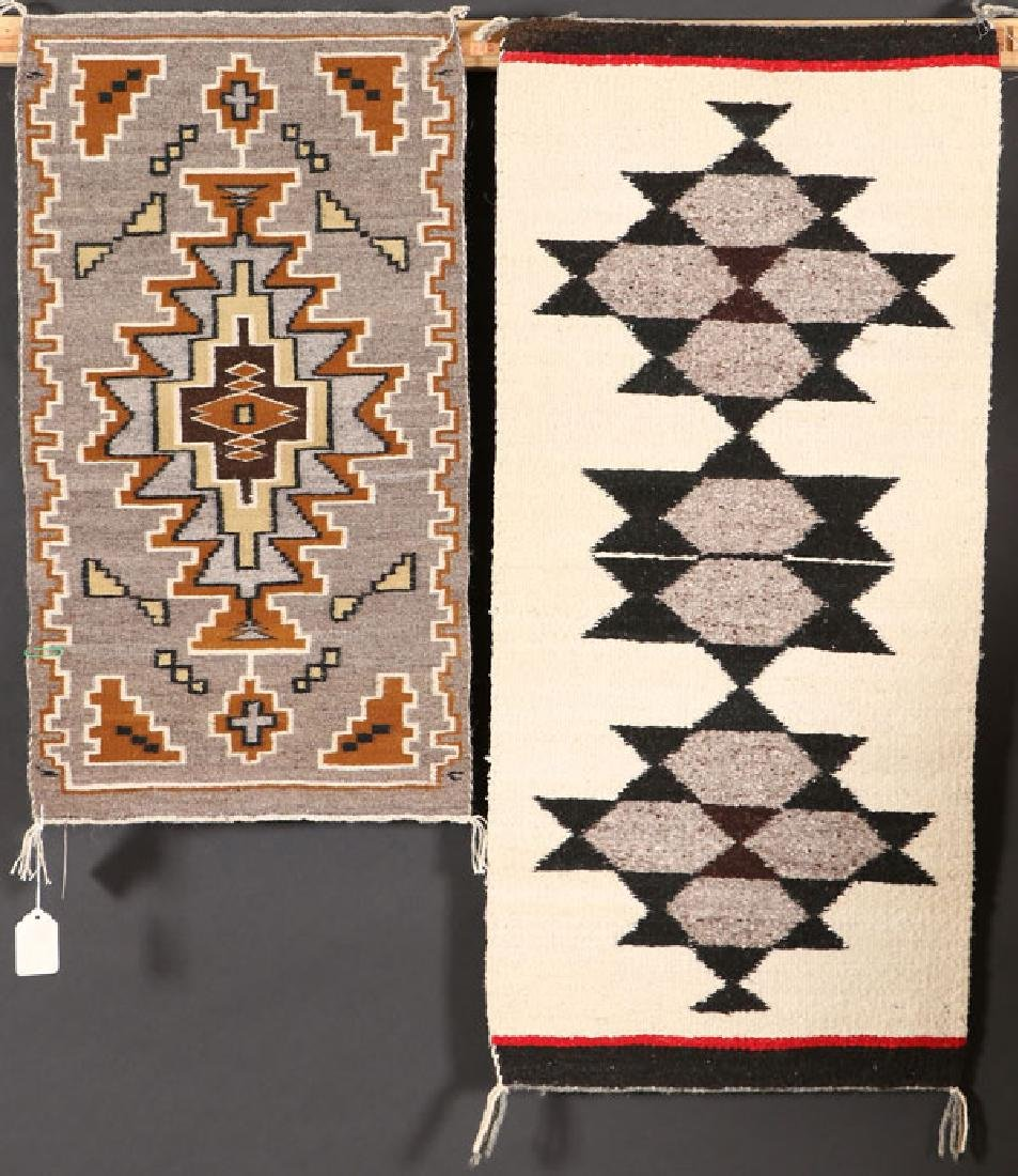 A GROUP OF FIVE SOUTHWEST NAVAJO HANDWOVEN RUG - 4