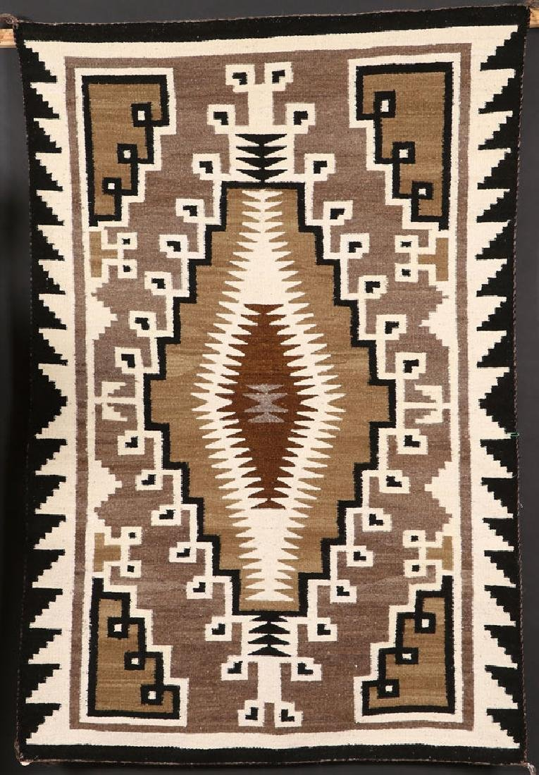 "A SOUTHWEST NAVAJO ""TWO GRAY HILLS"" HANDWOVEN RUG"