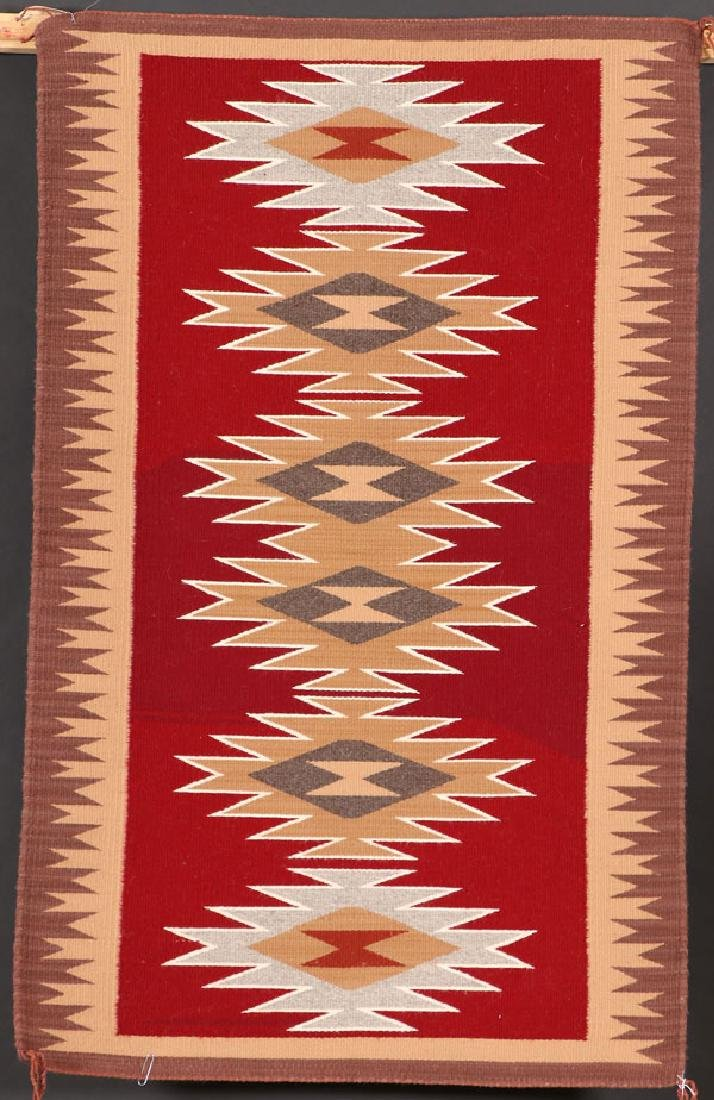 3 SOUTHWEST NAVAJO HANDWOVEN WOOL RUGS - 2