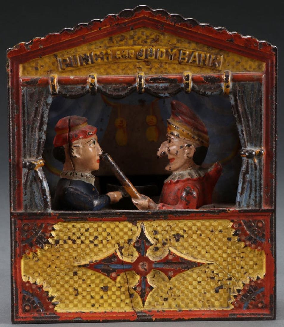 PUNCH AND JUDY CAST IRON BANK LATE 19TH C.