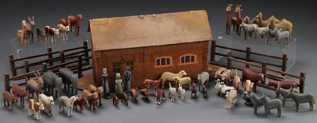 A CARVED WOOD MENAGERIE, 20TH CENTURY