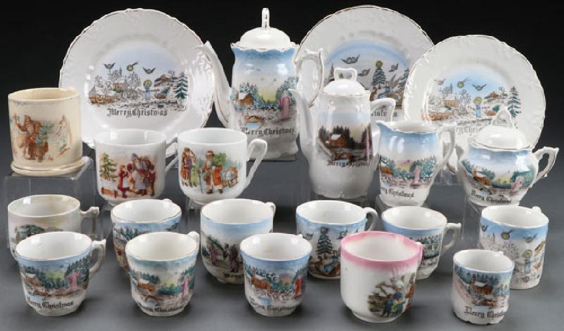 "A GROUP OF CHILD'S PORCELAIN ""CHRISTMAS"" DISHES"