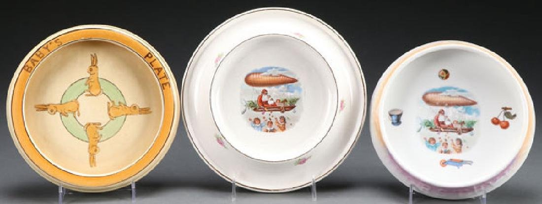 3  BABY PLATES INCL. CHRISTMAS & ROSEVILLE