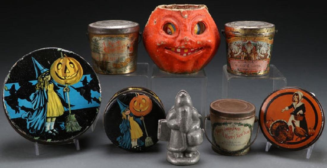 EIGHT VINTAGE CHRISTMAS AND HALLOWEEN CONTAINERS