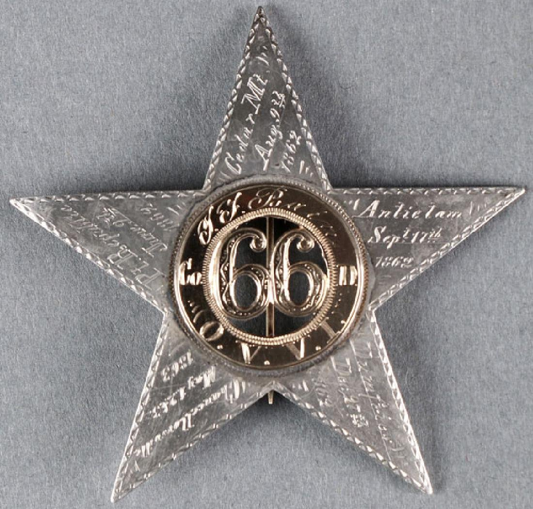 GREAT CIVIL WAR SILVER & GOLD ID'D CORPS BADGE