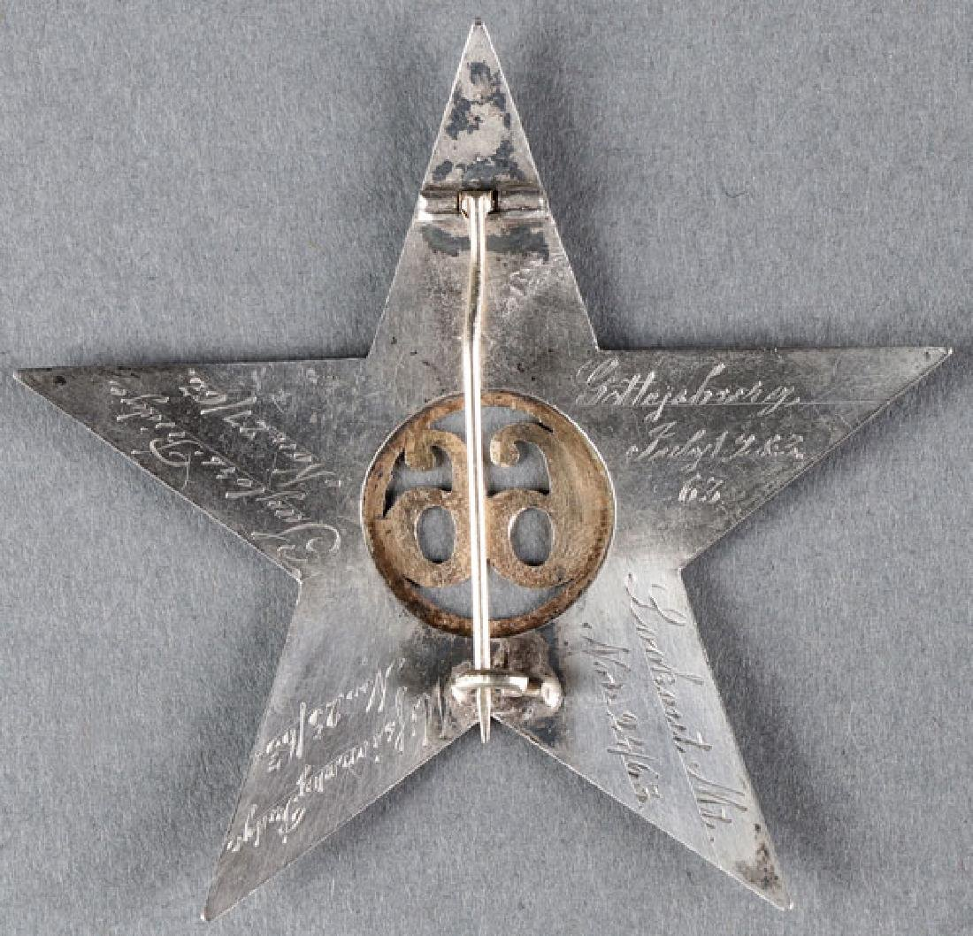 GREAT CIVIL WAR SILVER & GOLD ID'D CORPS BADGE - 2