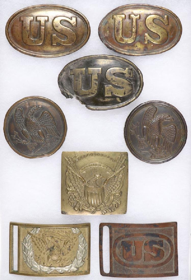 A GROUP OF SEVEN CIVIL WAR BELT AND SLING PLATES