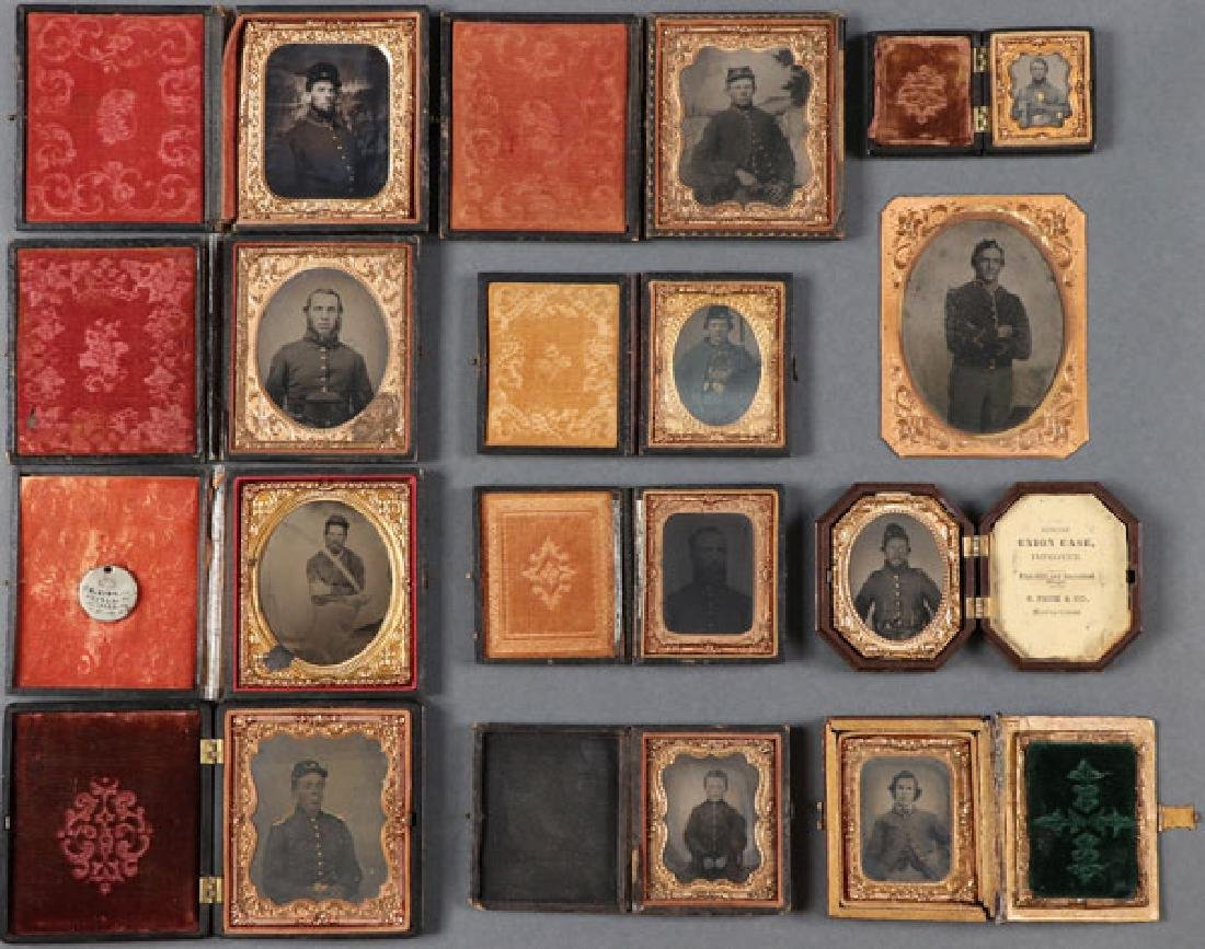 A GROUP OF 12 CASED CIVIL WAR SOLDIER PHOTOGRAPHI