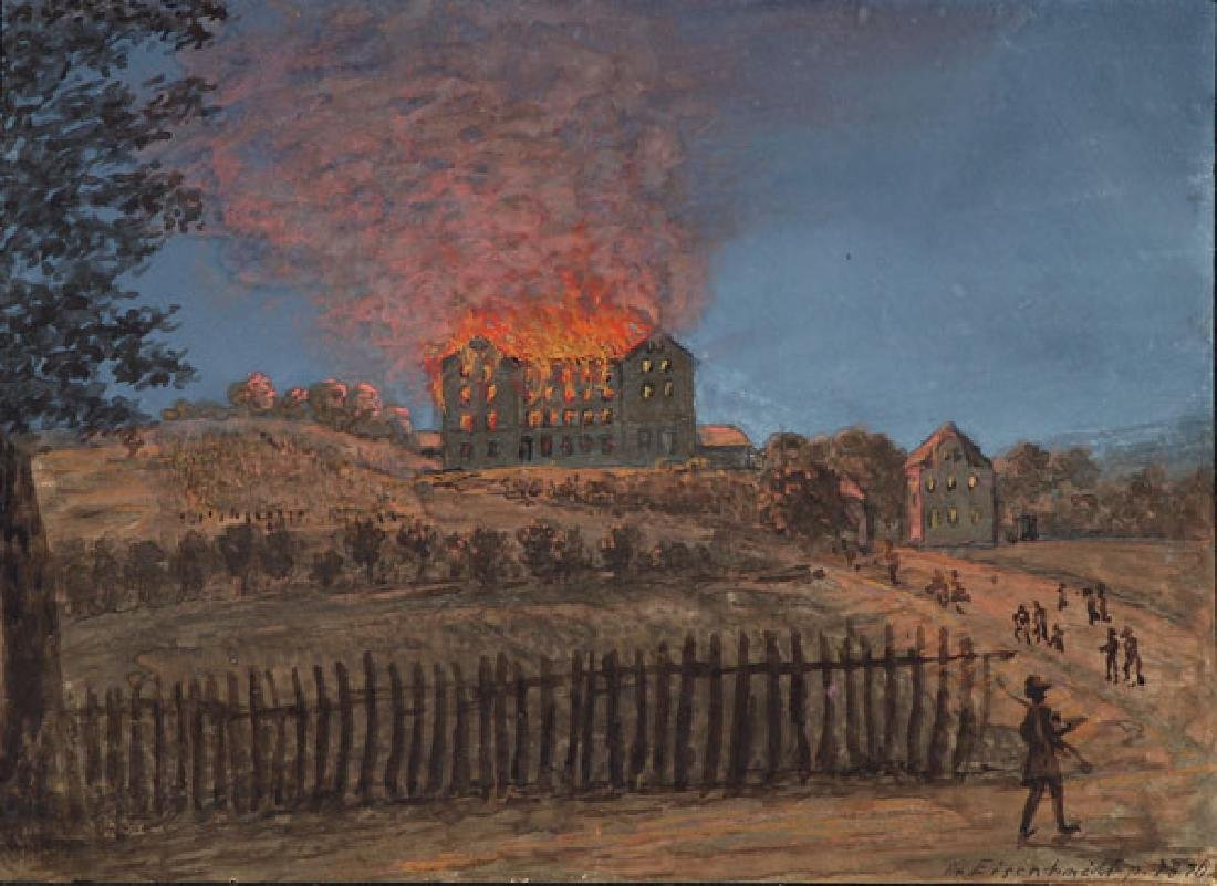19TH CENTURY WATERCOLOR NOCTURNAL BATTLE SCENE