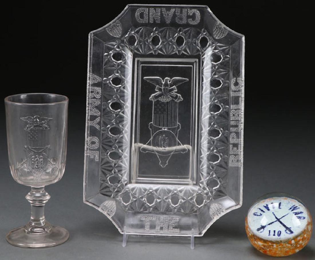THREE RARE CIVIL WAR GAR GLASS SOUVENIRS