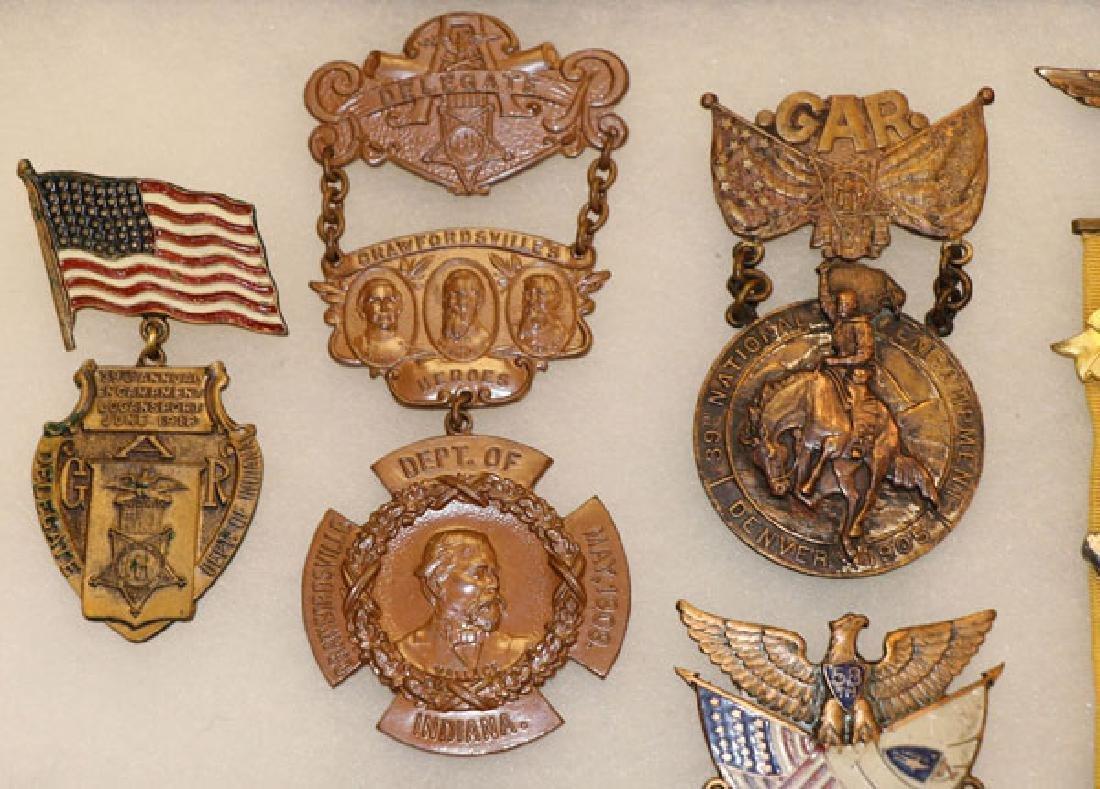 GROUP OF 18 FINE CIVIL WAR GAR BADGES, CIRCA 1896 - 2