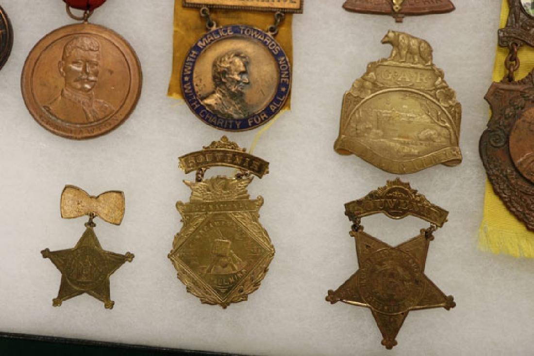 GROUP OF 18 FINE CIVIL WAR GAR BADGES, CIRCA 1896 - 7