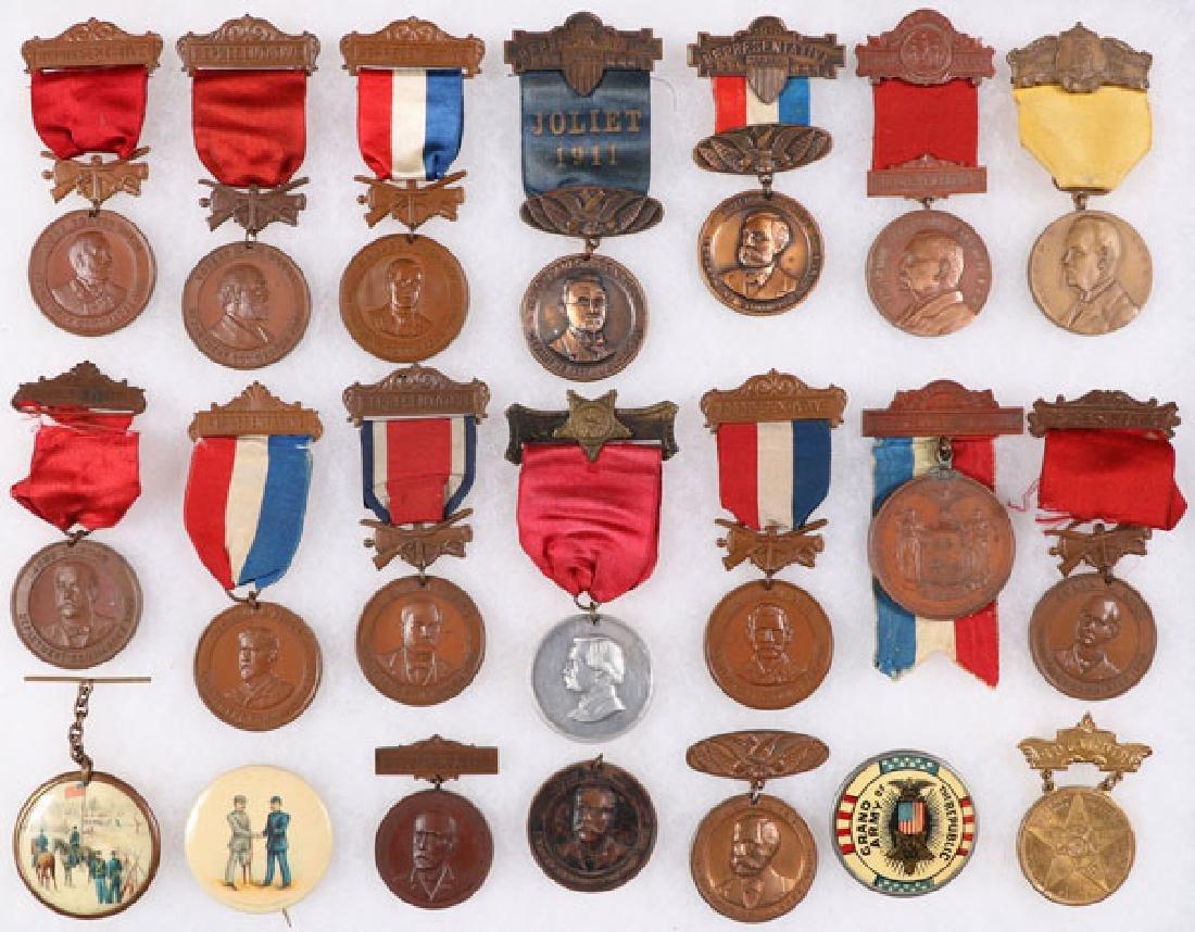 GROUP OF 21 FINE CIVIL WAR GAR BADGES, CIRCA 1894