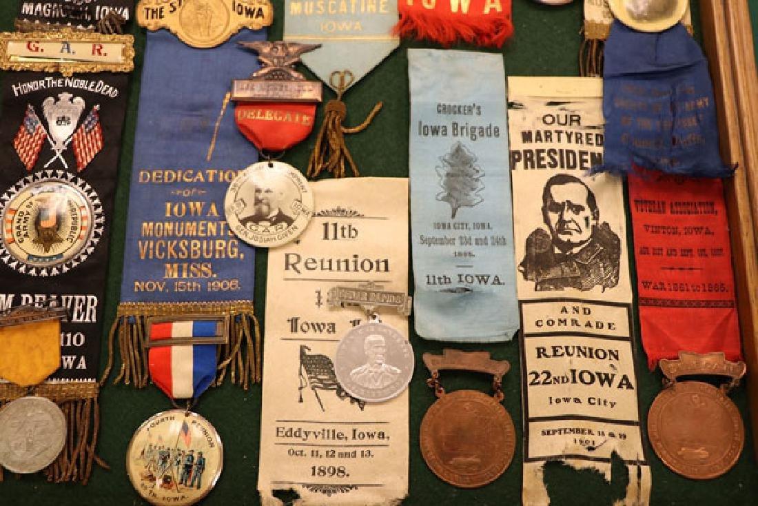 44 IOWA CIVIL WAR/GAR RELATED RIBBONS AND BADGES - 5