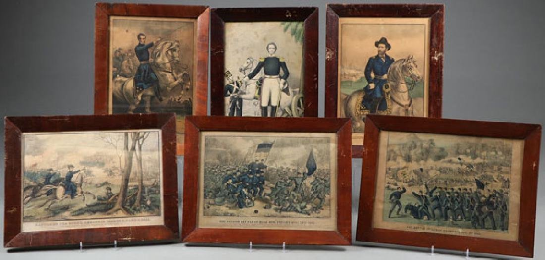 A GROUP OF SIX VINTAGE CIVIL WAR HAND-COLORED