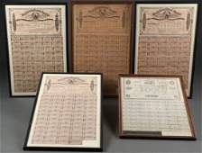 FIVE LARGE CONFEDERATE CIVIL WAR BONDS