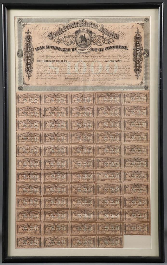 FIVE LARGE CONFEDERATE CIVIL WAR BONDS - 2