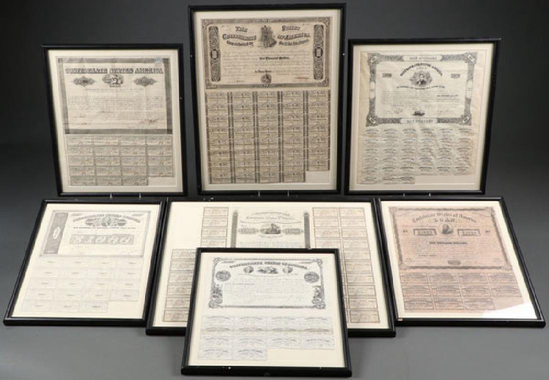 SEVEN CONFEDERATE CIVIL WAR BONDS