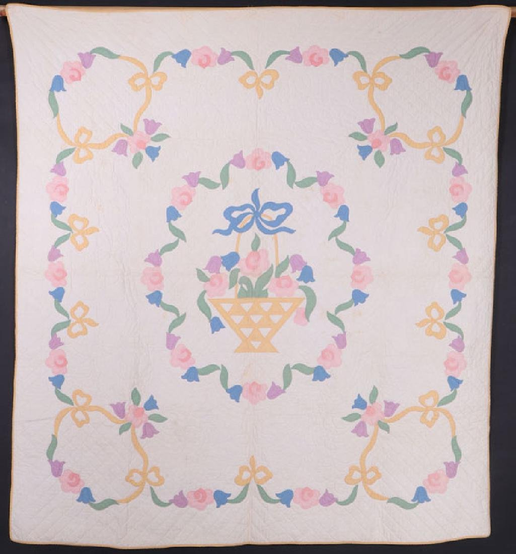 TWO VINTAGE AMERICAN HAND STITCHED PIECED QUILTS - 2