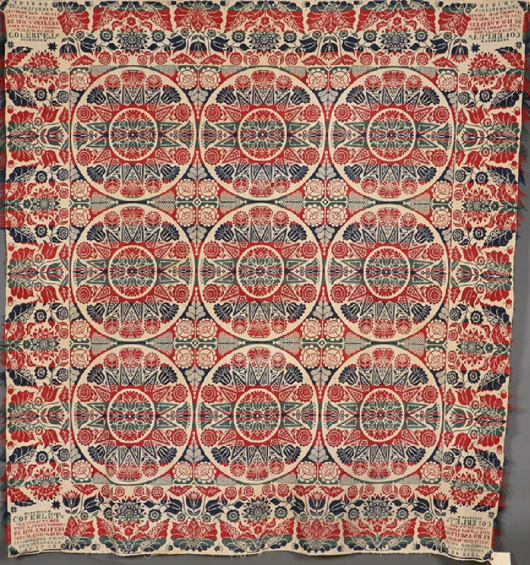 CUMBERLAND COUNTY COVERLET, 1848