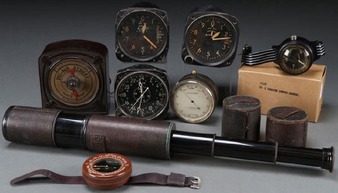 A GROUP OF VINTAGE AVIATION INSTRUMENTS