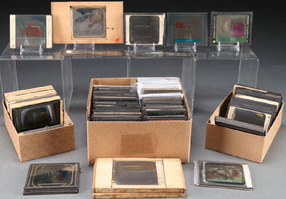 A COLLECTION OF MAGIC LANTERN GLASS SLIDES