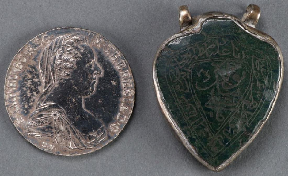 A 1780 MARIA THERESA THALER AND JADE PENDANT