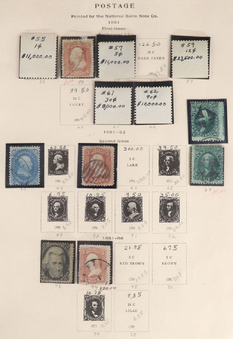 A GOOD COLLECTION OF EARLY US POSTAGE STAMPS