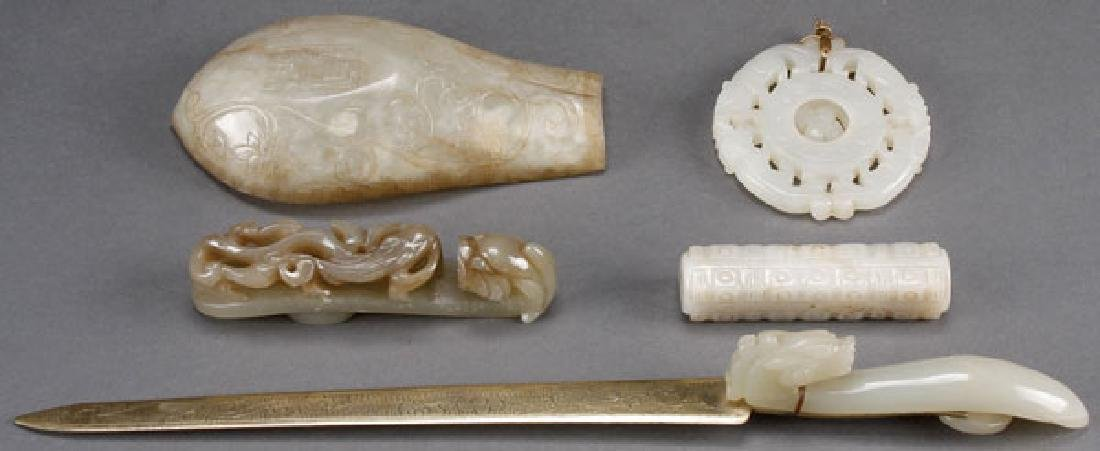 5 PIECE CHINESE CARVED WHITE JADE