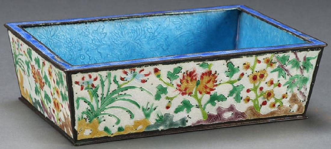 A CHINESE ENAMELED BRONZE PLANTER