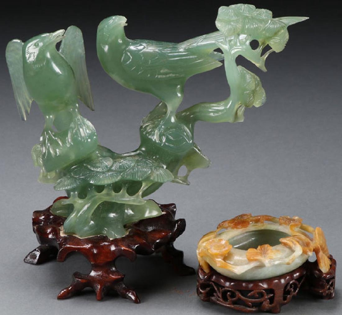 A CHINESE CARVED HARDSTONE AND JADEITE GROUP