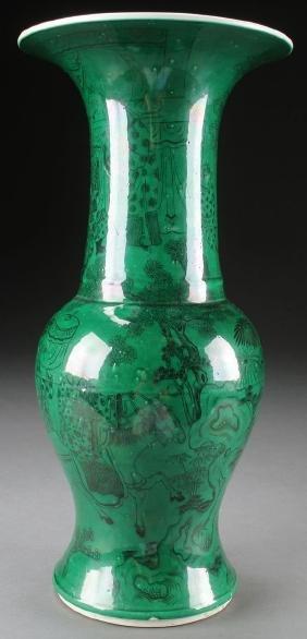 A Large Chinese Famille Verte Beaker Vase
