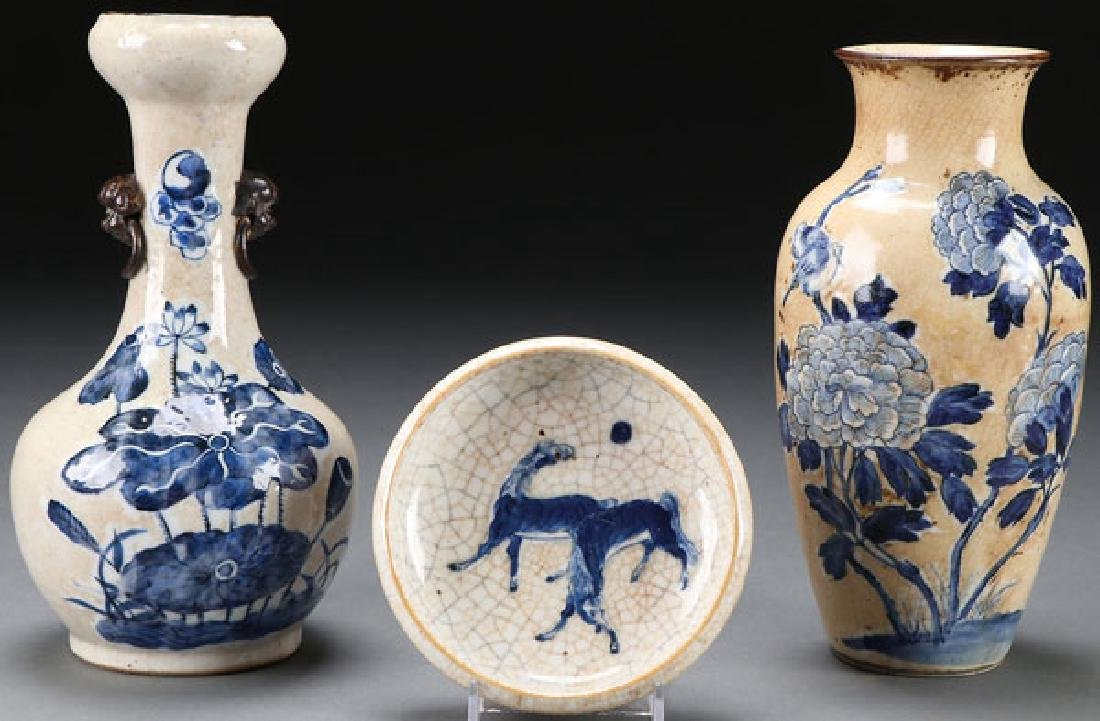 3 PC CHINESE BLUE & WHITE PORCELAIN