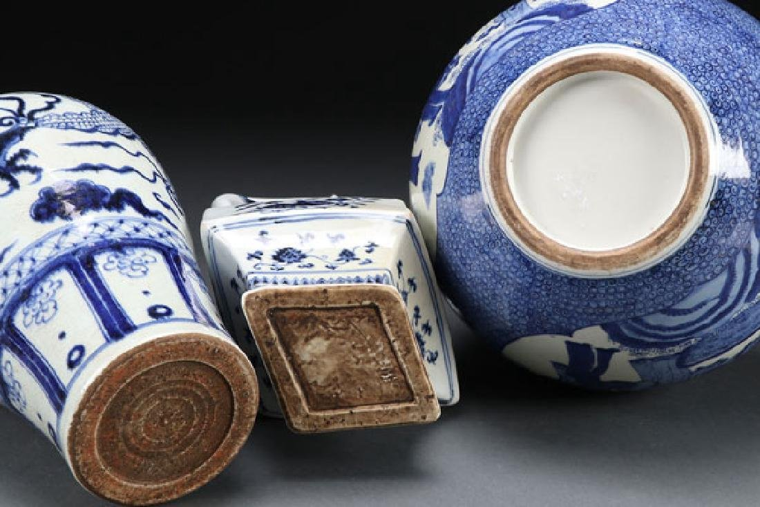 THREE CHINESE BLUE AND WHITE PORCELAIN VASES - 2