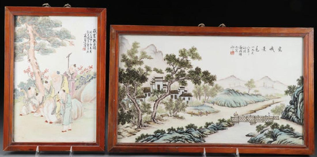 TWO CHINESE FAMILLE ROSE PORCELAIN PLAQUES