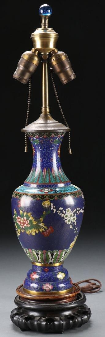 A CHINESE ENAMELED CLOISONNÉ VASE/LAMP